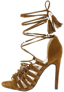 Tan StrappyTassel Lace Up High Heel Stilettos