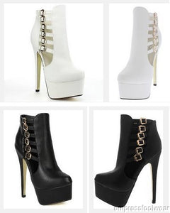 Women's Buckle Straps Side Zipper Platform Stiletto Ankle Bootie