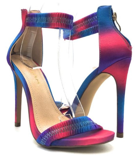 NEW JESSE SEXY MULTI COLOR OPEN TOE ELASTICIZED ANKLE STRAP ZIPPER HEELS
