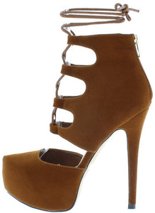 TAN PLATFORM LACE UP ANKLE STILETTO HIGH HEEL