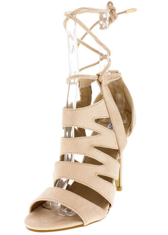 BEIGE CUT OUT LACE UP ANKLE HEEL