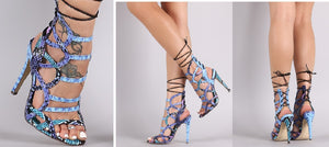 Blue Python Caged Back Lace-Up Single Sole Stiletto Hgh Heel