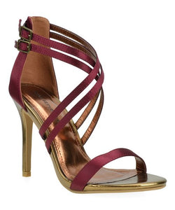 NEW CELIA WINE HIGH HEEL SANDALS