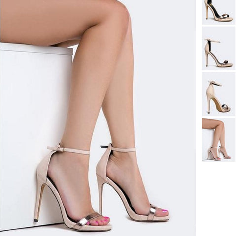 SELENA NUDE ANKLE STRAP HEEL