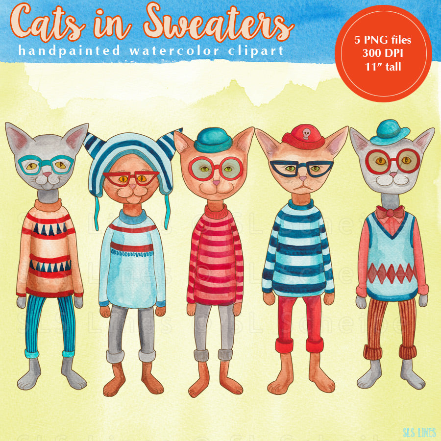 Cats in Sweaters Watercolor Clipart Set - slslines