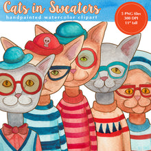 Load image into Gallery viewer, Cats in Sweaters Watercolor Clipart Set - slslines