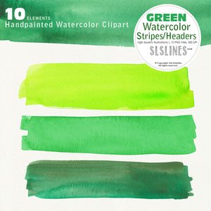 Green Watercolor Headers and Strips Clipart - slslines