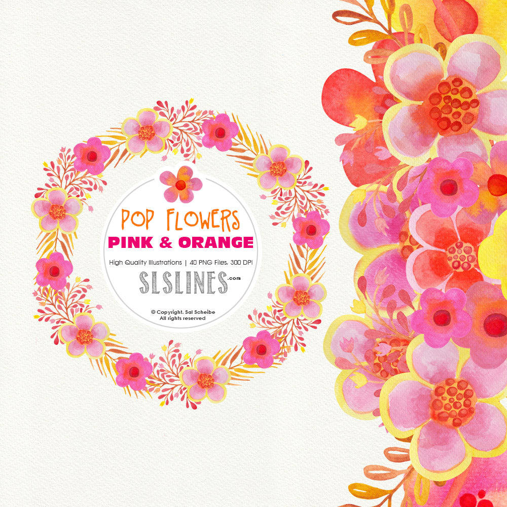 Pop Watercolor Flowers Pink Yellow Orange - slslines