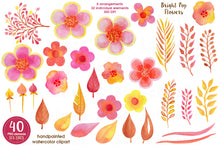 Load image into Gallery viewer, Pop Watercolor Flowers Pink Yellow Orange - slslines