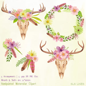 Skull & Deer Antlers Watercolor Set - slslines