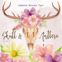Load image into Gallery viewer, Skull & Deer Antlers Watercolor Set - slslines