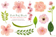 Load image into Gallery viewer, Fresh Pink Hibiscus Florals Watercolor Clipart - slslines