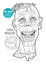 Load image into Gallery viewer, Printable Coloring Book: Zombie Heads, 12 gross pages - slslines