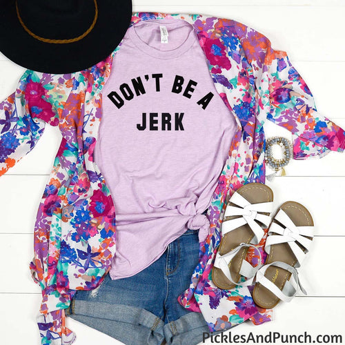 Don't be a jerk quit being an idiot what a moron statement tshirt tee t-shirt lilac color crew neck
