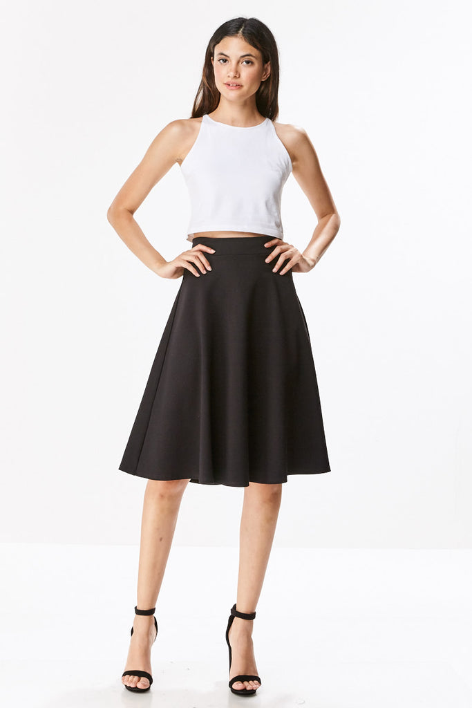 Ponte Flared A-line Midi Knee Length Skirt