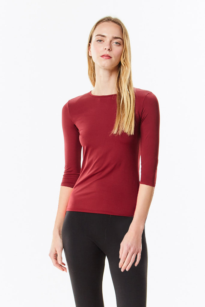 3/4 Sleeve Burgundy Cotton Layering Shell
