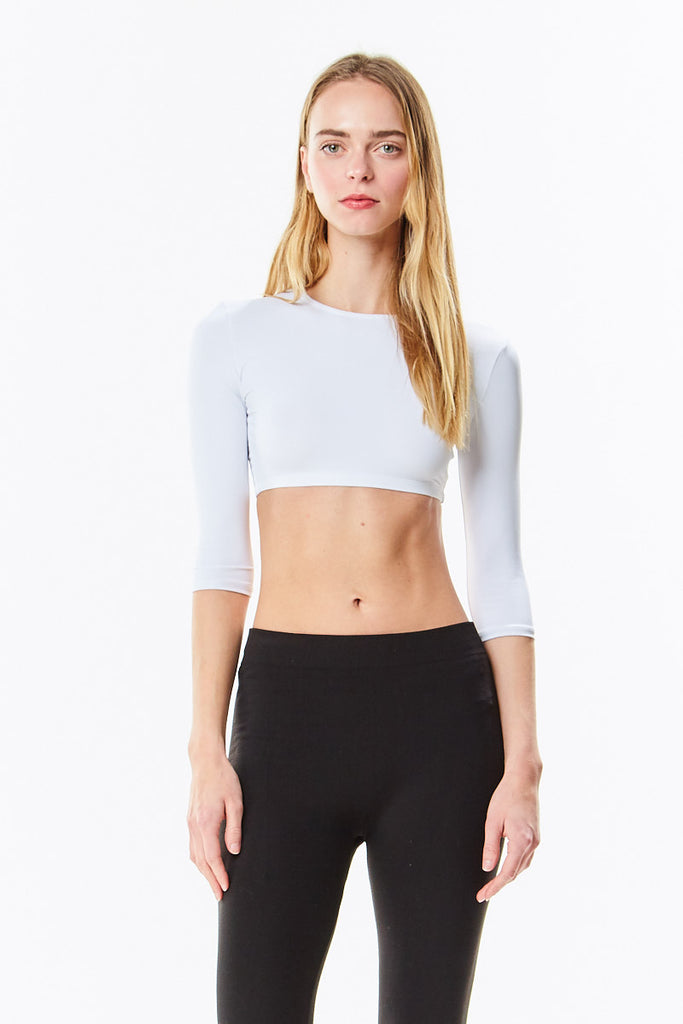 3/4 Sleeve White Microfiber Layering Shell Crop Top