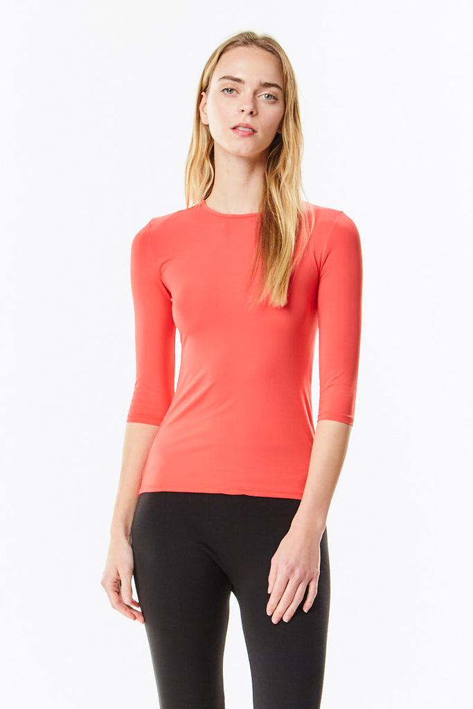 3/4 Sleeve Cayenne (Bright Coral) Microfiber  Layering  Shell Top