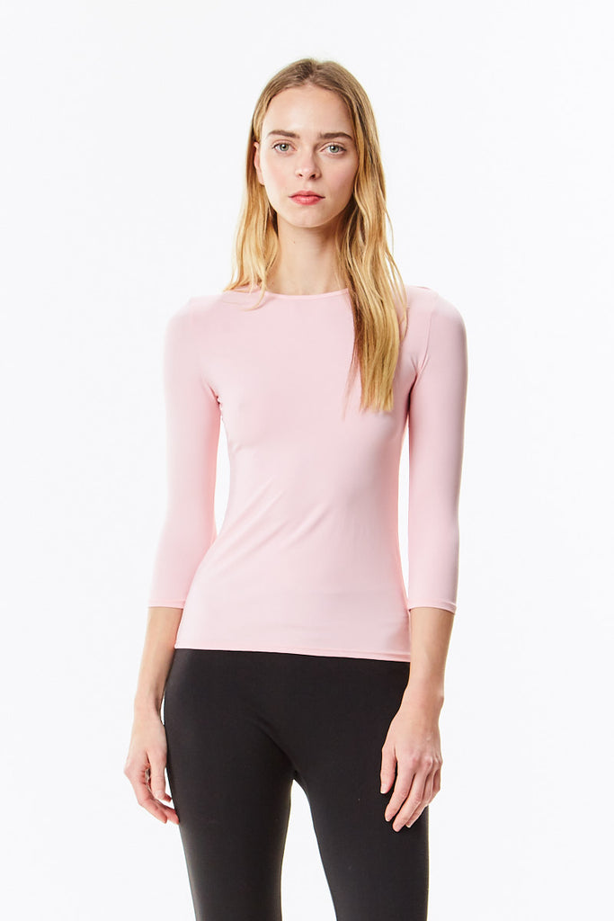 3/4 Sleeve Pink Cotton Layering Shell Top
