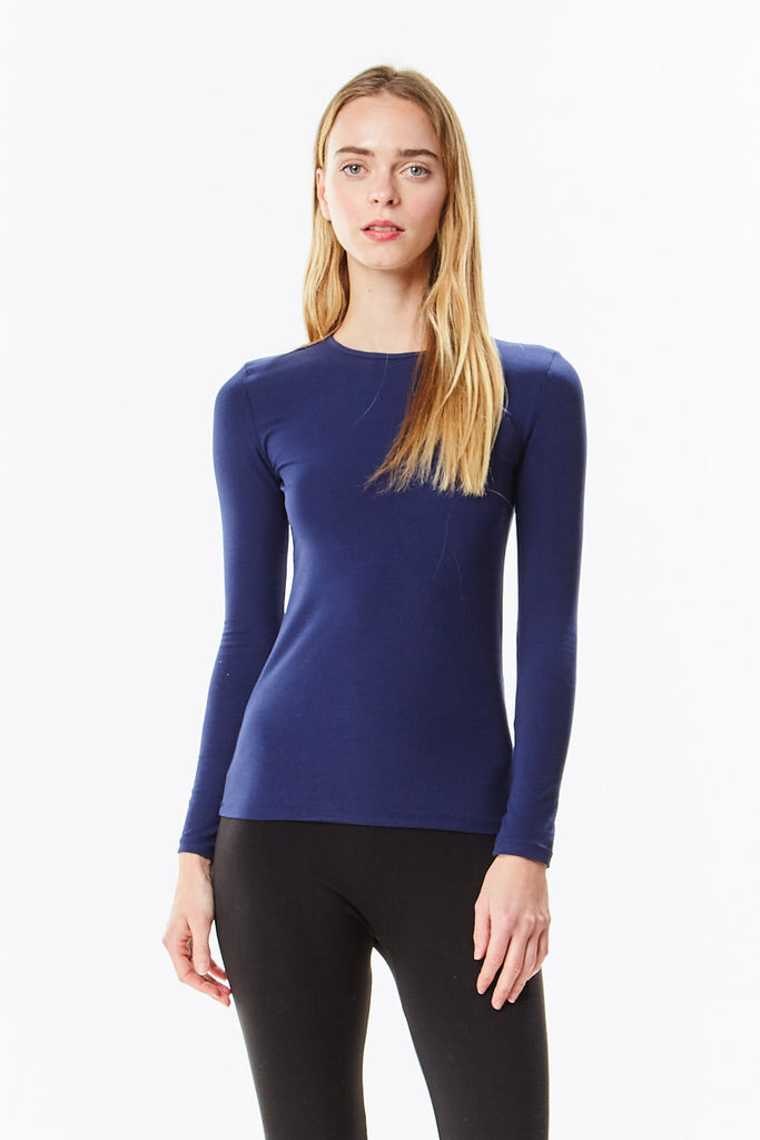 Long Sleeve Navy Cotton Layering Shell Top