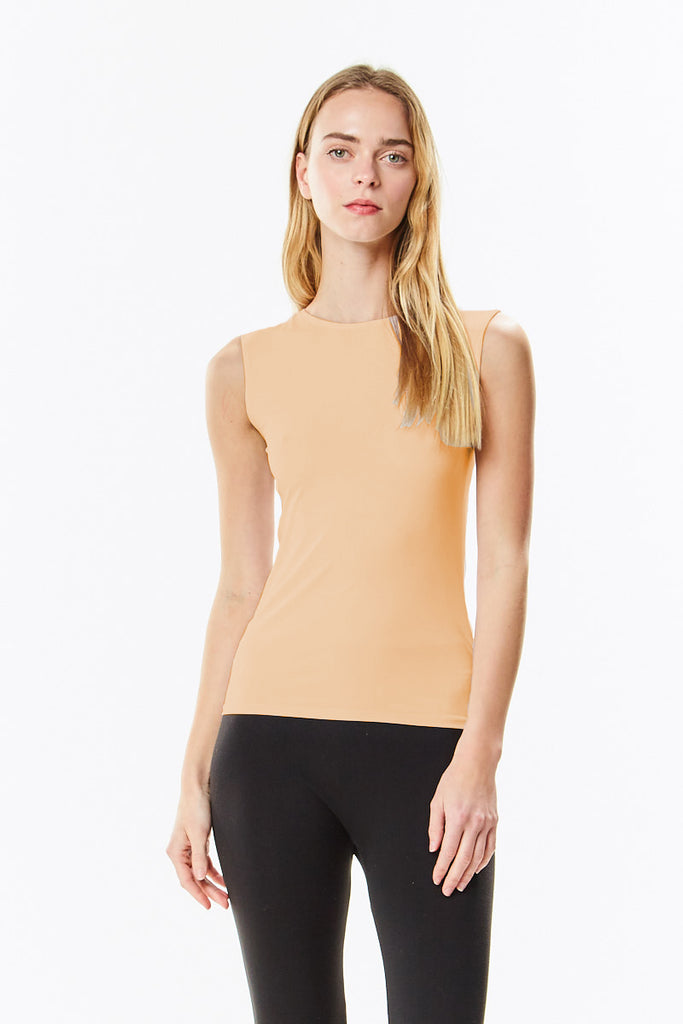 Nude Microfiber Sleeveless Layering Shell Top