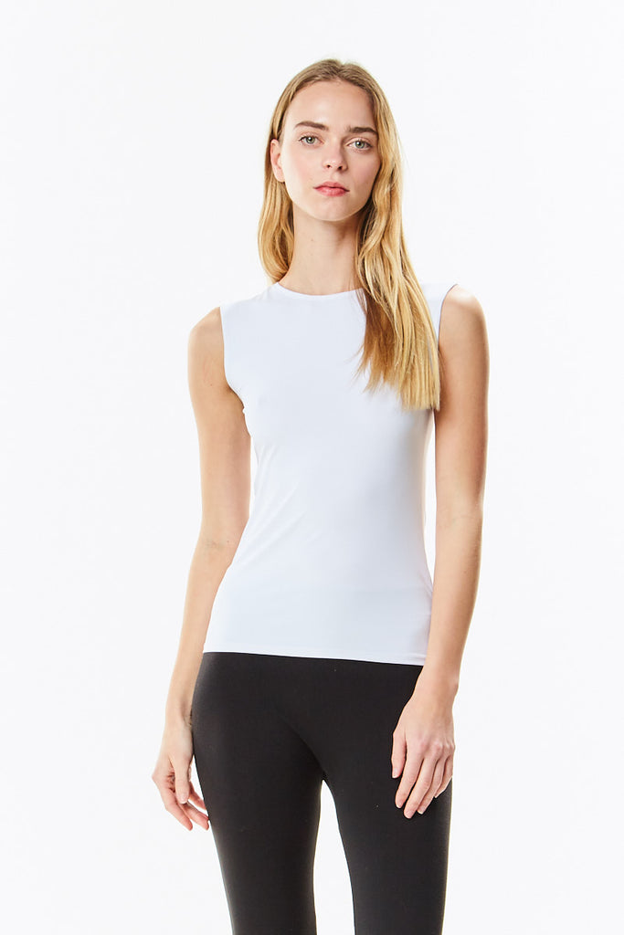 White Microfiber Sleeveless Layering Shell Top