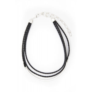 LEATHER THREE STRAND PLAITED NECKLACE BLACK
