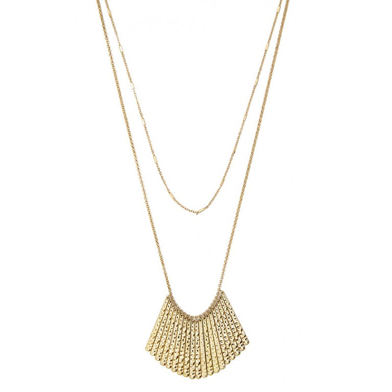 GOLD HAMMERED MULTI BAR NECKLACE