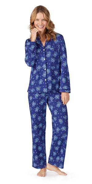 Navy Floral Bunches Soft Jersey Long PJ