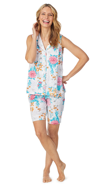 White Multi Floral Soft Jersey Sleeveless Bermuda PJ