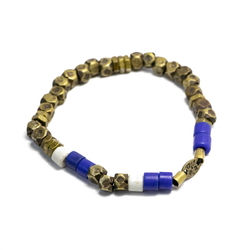 Faceted Brass Bead Stretch Bracelet | Giles & Brother