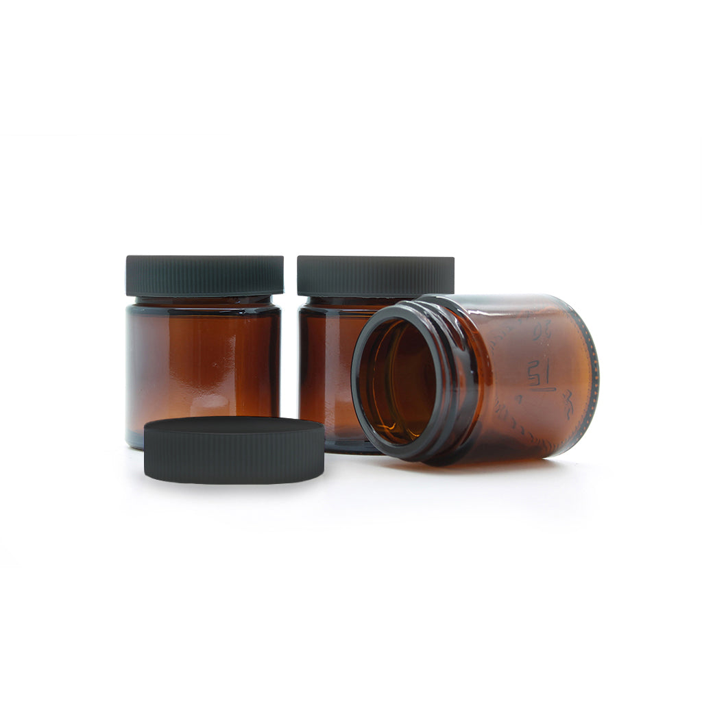 30ml Amber Moulded Glass Jar with Lid