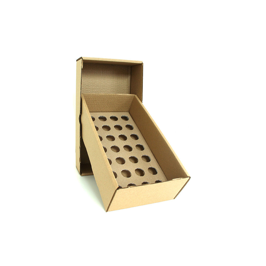 Posting Box with 24mm holed cardboard platform to hold 28 bottles