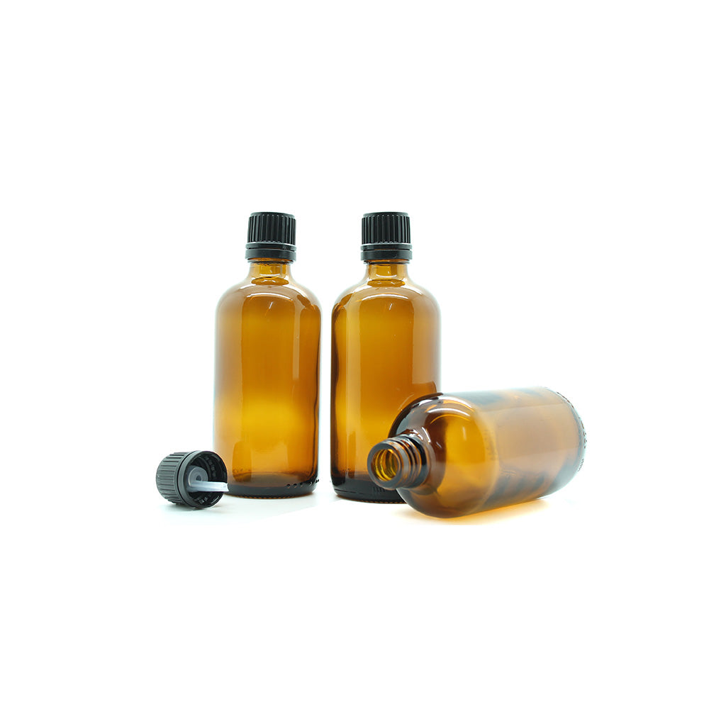 100ml Amber Moulded Glass Pourer Restrictor Bottle with Tamper Evident Cap