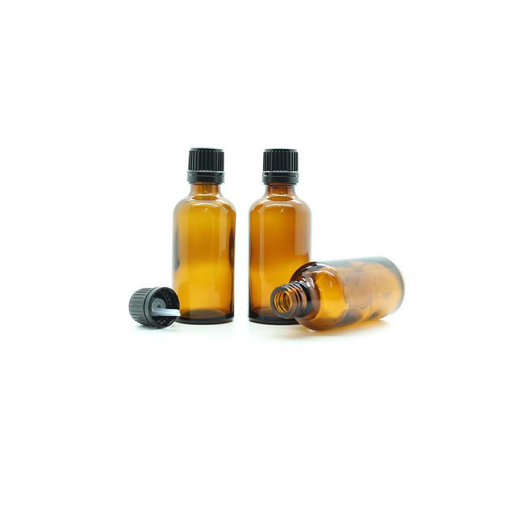50ml Amber Moulded Glass Pourer Restrictor Bottle with Tamper Evident Cap