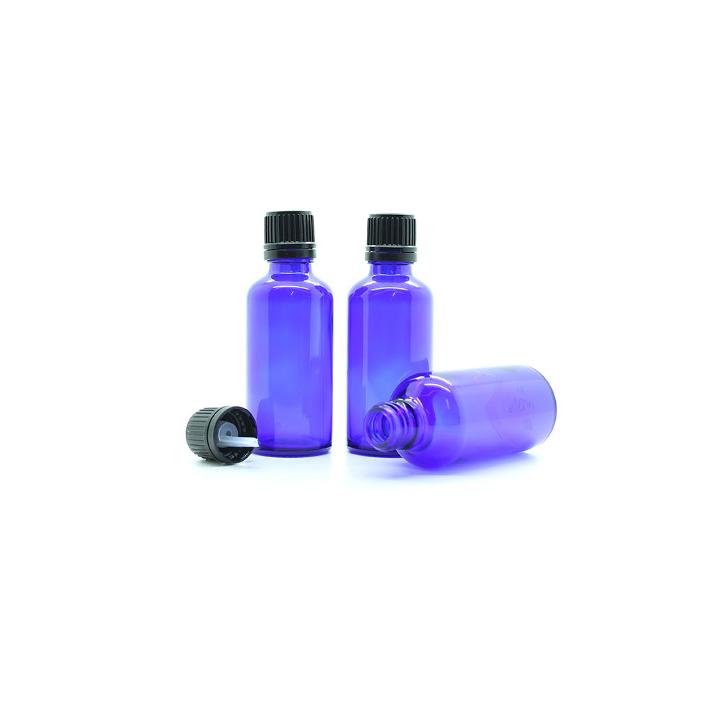 50ml Blue Moulded Glass Pourer Restrictor Bottle with Tamper Evident Cap