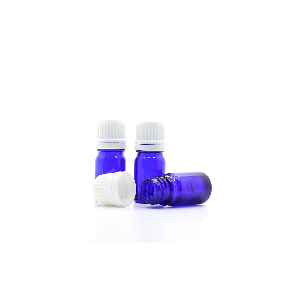 5ml Blue Moulded Glass Screw Cap Bottle with Tamper Evident Cap