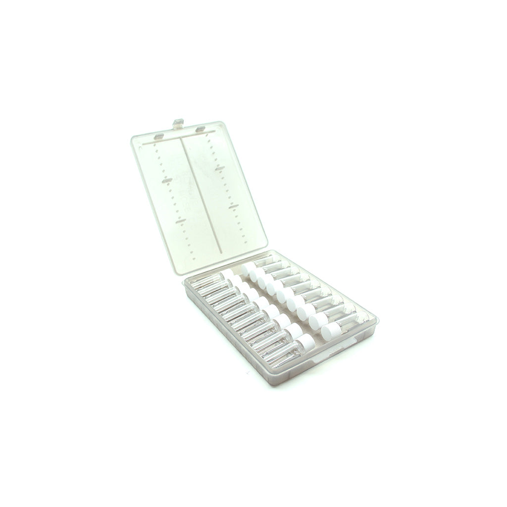 Plastic Remedy Wallet with 18 x 2g Glass Screw Cap Vials