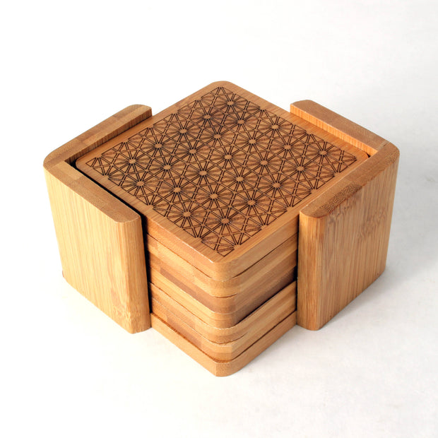 Hexagonal Matrix - Square Bamboo Coaster Set