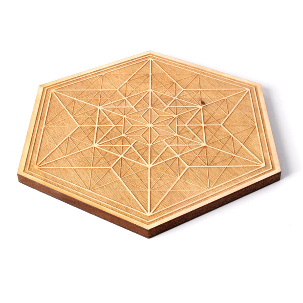 Asanoha Alchemy - Wooden Crystal Grid - Coaster -  By Decah