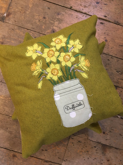 Made to order Handmade Daffodil Cushion