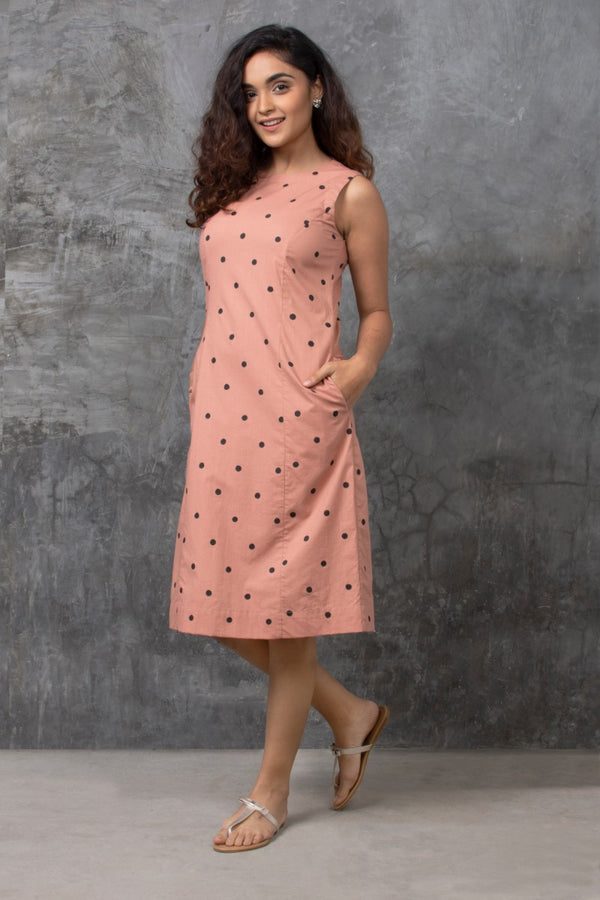 Dusty Pink Polka Shift Dress