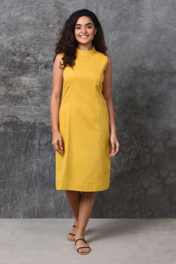 Yellow Turtleneck Dress