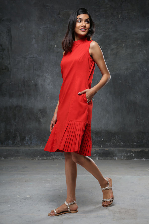 Red Turtleneck Pleated Midi