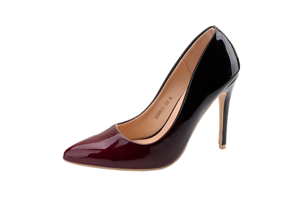 Mila Lady BONNIE08 Women Patent Contrast Color Pointed Toe Pumps Stilettos Heel Dress Shoes