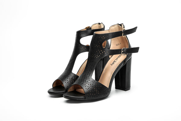 Black block chunky heel sandals shoes for women online cheap