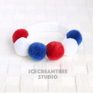 Red White Blue PomPom Necklace - Elastic Pet Collar
