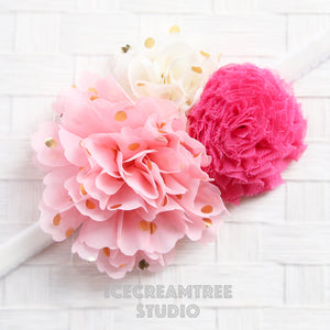 Pink Cream Hot Pink Bouquet Flower Collar Slide On - Bouquet Flowers Collar Accessory