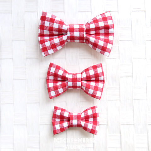Red Gingham Check Bow - Collar Slide on Bow