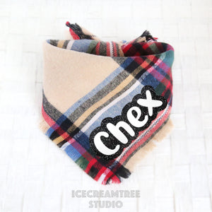 Simple Beige Plaid Bandana - Tie on Classic Flannel Pet Bandana Scarf